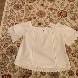 White Dotted Swiss Summer Top NWT-Large